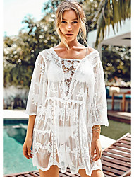 cheap -Women's Cover-Up Swimsuit Solid Colored Swimwear Bathing Suits White