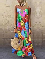 Недорогие -Жен. Макси Прямое Платье - Без рукавов Контрастных цветов На бретелях Свободный силуэт Цвет радуги S M L XL XXL