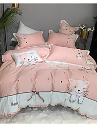 cheap -Duvet Cover Sets 4 Piece Cotton Cartoon Pink Printed Contemporary