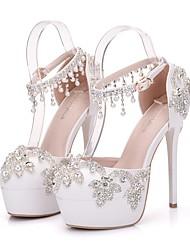 cheap -Women's Heels Stiletto Heel Round Toe Rhinestone / Sparkling Glitter / Buckle PU Vintage / Sweet Spring & Summer / Fall & Winter Silver / Wedding / Party & Evening