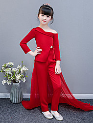 cheap -Pantsuit / Jumpsuit Chapel Train Wedding / Party Pageant Dresses - Polyester / Cotton Blend Long Sleeve One Shoulder with Solid