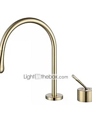 cheap -Bathroom Sink Faucet - Brushed Gold Single Handle Two Holes Washroom Bath Basin Mixer Taps Luxury Lavatory Faucet