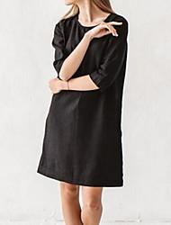 cheap -Women's Khaki Brown Dress A Line Solid Color S M Loose