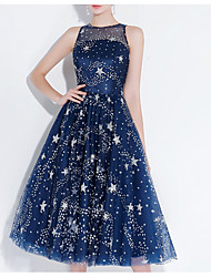 cheap -A-Line Glittering Blue Homecoming Cocktail Party Dress Illusion Neck Sleeveless Knee Length Polyester with Sequin 2020