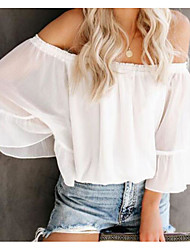 cheap -Women's Solid Colored Blouse Daily Off Shoulder White / Black / Purple