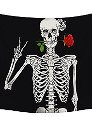 cheap -Pheolyh Rock and Roll Human Skull Posing with Rose Tapestries - Funny Skull Human Skeleton Tapestry for Room Decoration - Black and White Wall Art