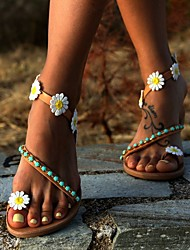 cheap -Women's Sandals Boho Bohemia Beach Flat Sandals Flat Heel Round Toe Flat Sandals Casual Boho Daily Beach PU Beading Flower Floral Brown