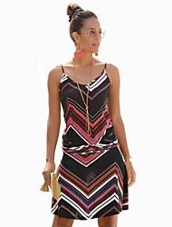 cheap -Women's Black Dress A Line Striped Strap S M