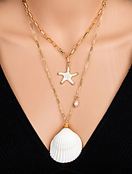 cheap -Women's Pendant Necklace Necklace Layered Necklace Stacking Stackable Starfish Shell Classic Rustic Vintage Bohemian Imitation Pearl Chrome Shell Gold 55 cm Necklace Jewelry 1pc For Street Birthday