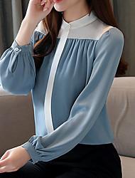cheap -Women's Daily Blouse - Color Block Blue