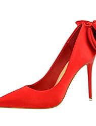 cheap -Women's Heels Stiletto Heel Pointed Toe Satin Casual / Minimalism Spring / Summer Black / Wine / Green