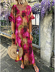 cheap -Women's Maxi Purple Fuchsia Dress Shift Print S M