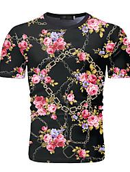 cheap -Men's Going out Work Business / Elegant T-shirt - Floral / Color Block Print Black
