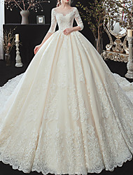 cheap -Ball Gown Jewel Neck Watteau Train Lace / Tulle / Lace Over Satin 3/4 Length Sleeve Formal Plus Size / Illusion Sleeve Wedding Dresses with Lace / Lace Insert 2020
