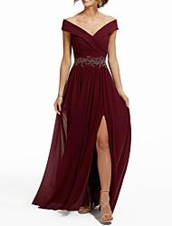 cheap -A-Line Empire Engagement Formal Evening Dress V Neck Sleeveless Floor Length Chiffon with Split Appliques 2021