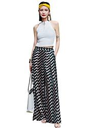 cheap -Women's Basic Chinos Pants - Striped Black S M L