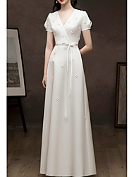 cheap -A-Line Floral White Prom Formal Evening Dress V Neck Short Sleeve Floor Length Satin with Sash / Ribbon Beading 2020