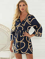cheap -Women's Blue Dress Sheath Print V Neck S M