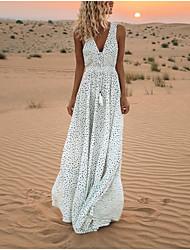 cheap -Women's Maxi Swing Dress - Sleeveless Polka Dot V Neck White Blue Blushing Pink Beige S M L XL XXL XXXL