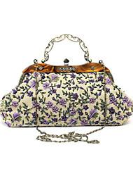 cheap -Women's Flower Polyester Evening Bag Wedding Bags Floral Print Black / Blue / Purple / Fall & Winter