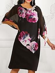 cheap -Women's 2020 Black Dress Summer Shift Chiffon Floral Print M L