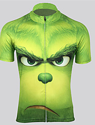 cheap -Men's Daily Spring & Summer Regular Jacket, Geometric Stand Short Sleeve Polyester Green