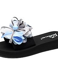 cheap -Women's Slippers & Flip-Flops Flat Heel Open Toe Bowknot / Satin Flower Polyester Classic / Casual Walking Shoes Summer Light Blue