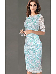 cheap -Women's Sheath Dress - Half Sleeve Color Block Slim White Black Red Light Blue S M L XL XXL XXXL