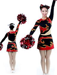 cheap -Cheerleader Costume Uniform Women's Girls' Kids Skirt Spandex High Elasticity Handmade Long Sleeve Competition Dance Rhythmic Gymnastics Gymnastics Black