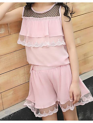 cheap -Kids Girls' Active Chinoiserie Daily Wear Festival Patchwork Solid Colored Ruffle Mesh Sleeveless Regular Regular Clothing Set Blushing Pink