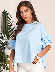 cheap -Women's T Shirt O Neck Solid Color Flare Sleeve Top