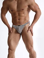 cheap -Men's Print Briefs Underwear Mid Waist Blue S