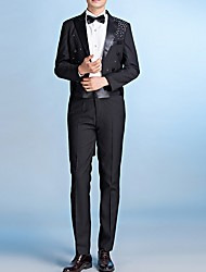 cheap -Men's Suits, Solid Colored Notch Lapel Polyester Black / White / Dark Gray