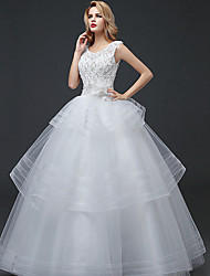 cheap -Ball Gown Scoop Neck Floor Length Polyester / Lace / Tulle Cap Sleeve Romantic Wedding Dresses with Lace / Crystals / Beading 2020