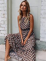 cheap -Women's Maxi Brown Dress A Line Polka Dot S M