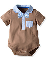 cheap -Baby Boys' Basic Solid Colored Short Sleeves Bodysuit Camel