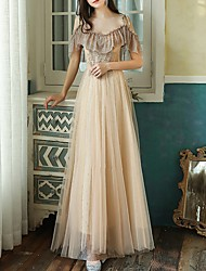 cheap -A-Line Spaghetti Strap Floor Length Tulle Luxurious / Gold Prom / Formal Evening Dress with Beading / Appliques 2020
