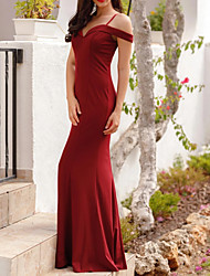 cheap -Mermaid / Trumpet Off Shoulder Floor Length Polyester Sexy / Red Engagement / Prom Dress with Pleats 2020