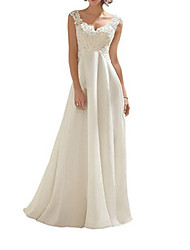 cheap -A-Line V Neck Floor Length Chiffon Sleeveless Beach Wedding Dresses with Lace Insert / Embroidery 2020