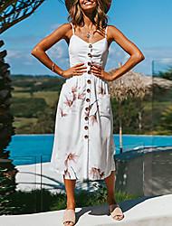 cheap -Women's Daily Going out Boho A Line Sheath Dress - Striped Floral Sun Flower, Backless Black White Blushing Pink M L XL XXL