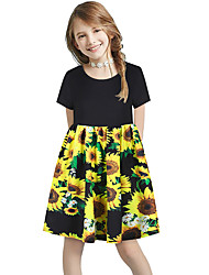 cheap -Kids Girls' Basic Cute Sun Flower Floral Color Block Cartoon Print Short Sleeve Knee-length Dress Yellow