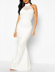 cheap -Sheath / Column Halter Neck Floor Length Polyester Elegant / White Engagement / Formal Evening Dress with Draping 2020