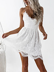 cheap -Women's Strap Dress White Short Mini Dress - Sleeveless Lace Backless Summer V Neck Sexy Holiday Club Slim High Waist White Black Pink S M L XL XXL