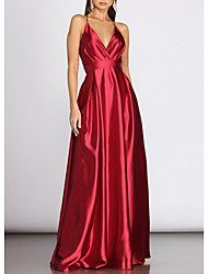 cheap -A-Line Sexy Red Engagement Prom Dress V Neck Sleeveless Floor Length Charmeuse with Pleats 2020