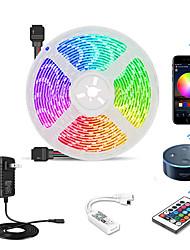 Недорогие -5м 300 светодиодов Wi-Fi Kit Гибкие светодиодные полосы / наборы света / RGB полосы света SMD3528 8 мм 1 Пульт дистанционного управления 24 ключа / 1 х 12 В 2a адаптер 1 комплект многоцветный