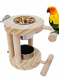 cheap -Bird Feeding Cups Stainless Steel Parrot Food & Water Cage Bowls Bird Perches Stand Cage Accessories for Parakeet Budgies Fiches Lovebirds