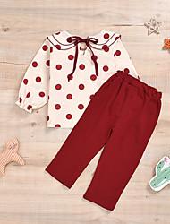 cheap -Baby Girls' Active Basic Polka Dot Solid Colored Ruffle Long Sleeve Regular Clothing Set Beige