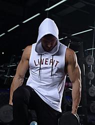 cheap -Men's Letter Tank Top - Cotton Sports Hooded White / Black / Sleeveless