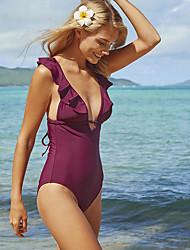 cheap -Women's Beach Girl Vintage 1980s Bikini Peplum Swimsuit Monokini Spandex Tactel Solid Colored Purple Leotard / Onesie