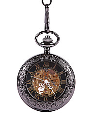 cheap -Unisex Pocket Watch Mechanical manual-winding Vintage Style Casual Hollow Engraving Analog Black / Titanium Alloy